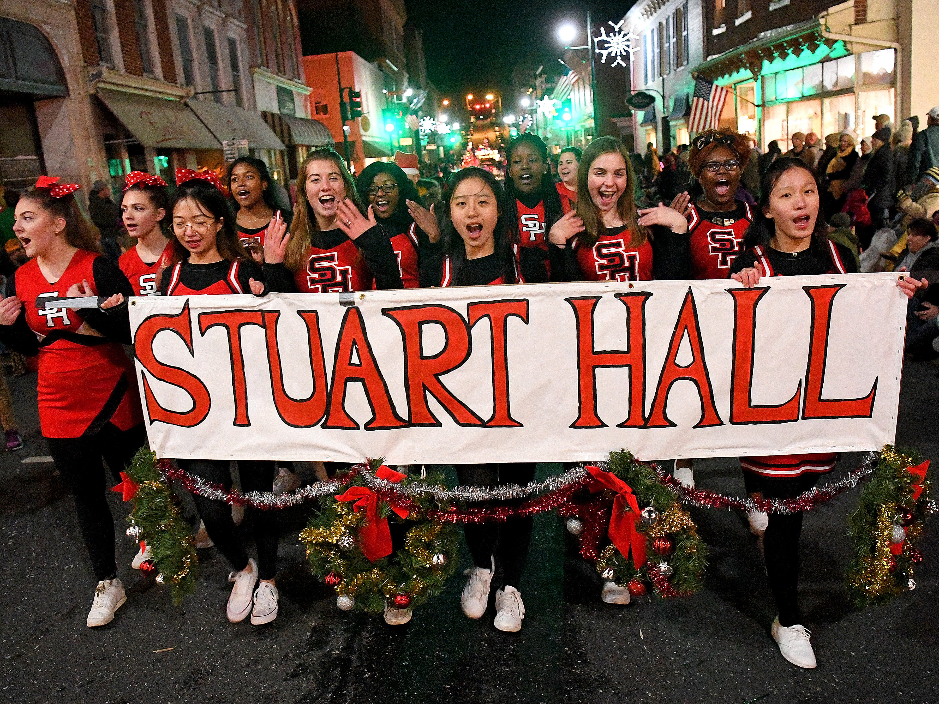 Students from Stuart Hall in the Staunton Christmas Parade on Monday, Nov. 26, 2018.