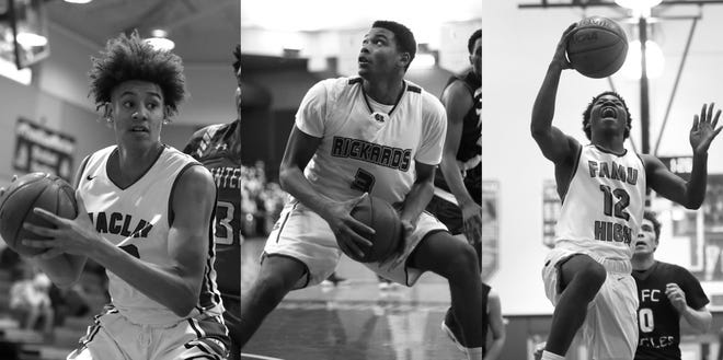Three first-team All-Big Bend players from 2017-18 transferred hundreds of miles away to play for independent powerhouses. From left: Zimife Nwokeji, Alic Troutman, A'drelin Robinson.