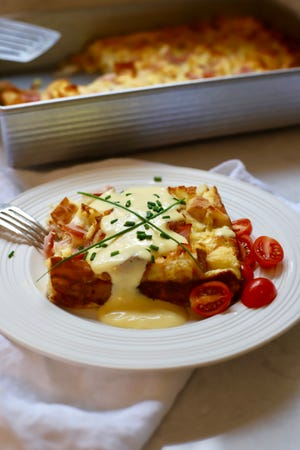 Easy Eggs Benedict Breakfast Casserole is perfect for Christmas morning brunch.