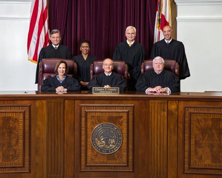 Chief Justice Charles T. Canady and Justices Barbara J. Pariente; R. Fred Lewis; Peggy A. Quince; Ricky Polston; Jorge Labarga; Alan Lawson