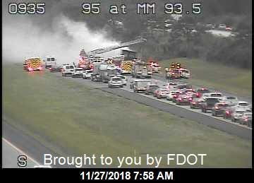 Vehicle fire blocking southbound I-95 in Martin County Nov. 27, 2018.