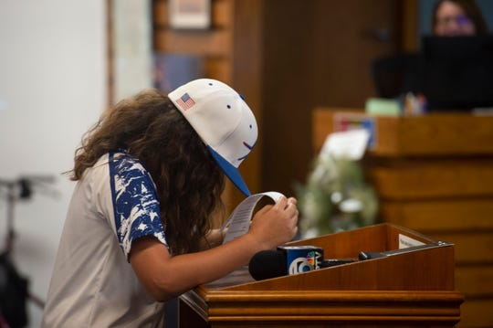 A youth baseball player gets emotional during a Stuart City Commission meeting on the Sailfish Park ballfields in this Nov. 26, 2018, file photo.