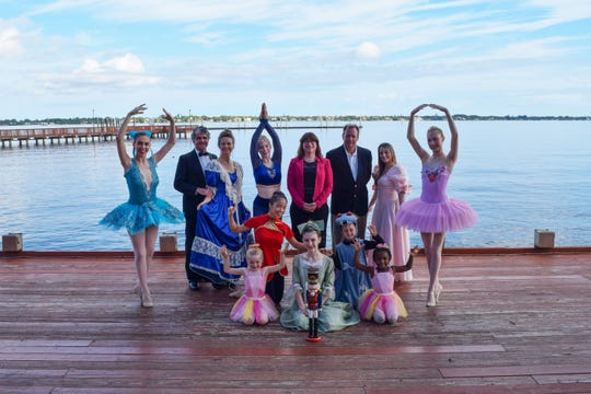 """Florida Arts & Dance Co. dancers and supporters of """"The Nutcracker"""" are, from left, front row: Quinn Kalinski, Drew Walls and Olivia Cannon; middle row, Ella Saum and Meara Bannon; back row, Anna Gandy, Matt Saum, Martha Saum, Caroline Rouse, Joann Gallagher, Wendell Cave, Cori Fabrizio and Jacqueline Rouse."""