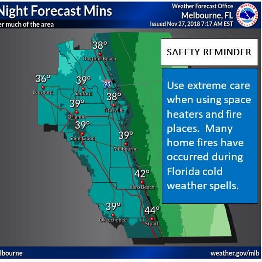 Indian River County opening cold-weather shelter; temps could fall into upper 30's