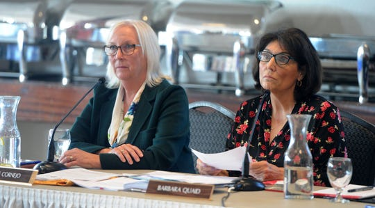Ventura County Fairgrounds board president Leslie Cornejo (left) and CEO Barbara Quaid listen to people speak about gun shows at a meeting last year in Ventura.