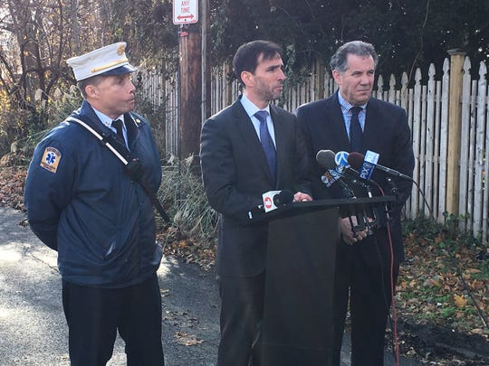 New Rochelle Fire Chief Andy Sandor, Mayor Noam Bramson and City Manager Chuck Strome discuss a fire that destroyed the Wildcliff mansion on Nov. 26, 2018. They are seen on Nov. 27, 2018.