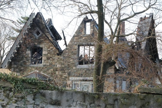 Damage to the Wildcliff mansion in New Rochelle is seen the day after after a fire tore through the historic building on Nov. 26, 2018.