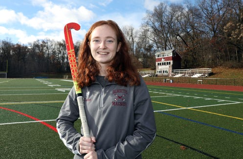 Albertus Magnus senior Mary O'Connor, the Rockland field hockey player of the year, at the high school in New City.