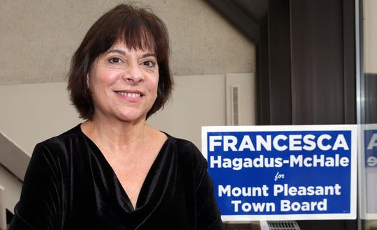 Francesca Hagadus-McHale, is the first Democrat elected to the Mount Pleasant Town Board in 30 years. She is a local retired teacher, currently teaching part time Nov. 27, 2018.