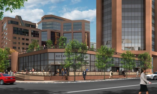Rendering of proposed City Square development as seen from Main Street and South Lexington Avenue.