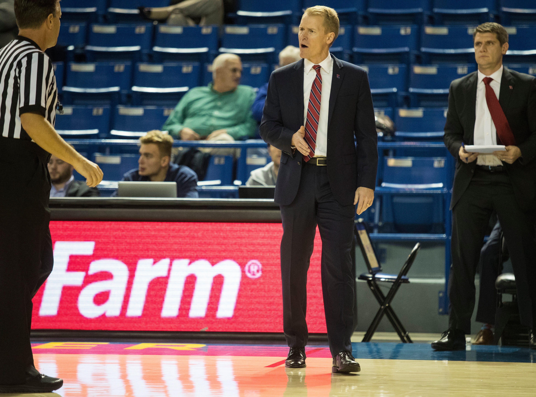 Louisiana Tech head coach Eric Konkol argues with the referee over a call Monday at the Bob Carpenter Center. Delaware defeated Louisiana Tech 75-71.