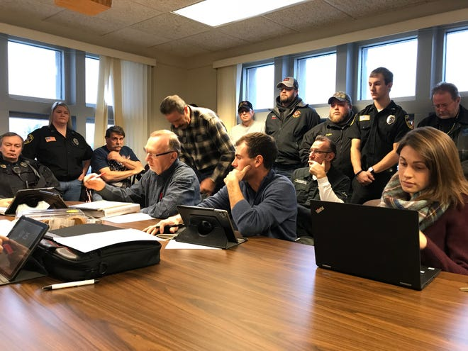 It was standing room only in a Wood County Courthouse meeting room Tuesday morning when emergency services members showed up at a Wood County Legislative and Judicial Committee meeting to speak on the issue of continuing the Wood County Sheriff's Rescue.