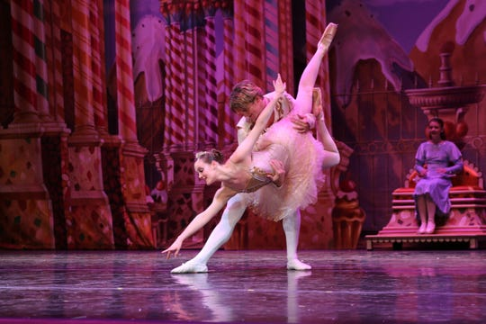 """Sugar Plumb Fairy (Ashlen Loskot) and Cavalier (David Sanders) in the annual Wichita Falls Ballet Theatre production of """"The Nutcracker,"""" which opens at 7 p.m. tonight & 1 p.m. and 7 p.m. Saturday at the Memorial Auditorium."""
