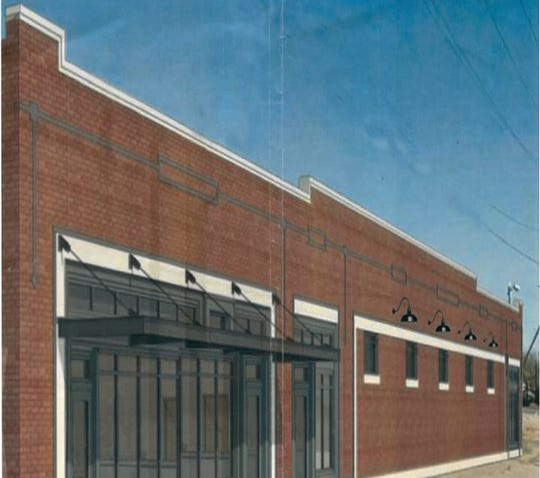 An artistic rendering shows possible facade renovation at the 6th Street Winery at 600 Sixth Street.