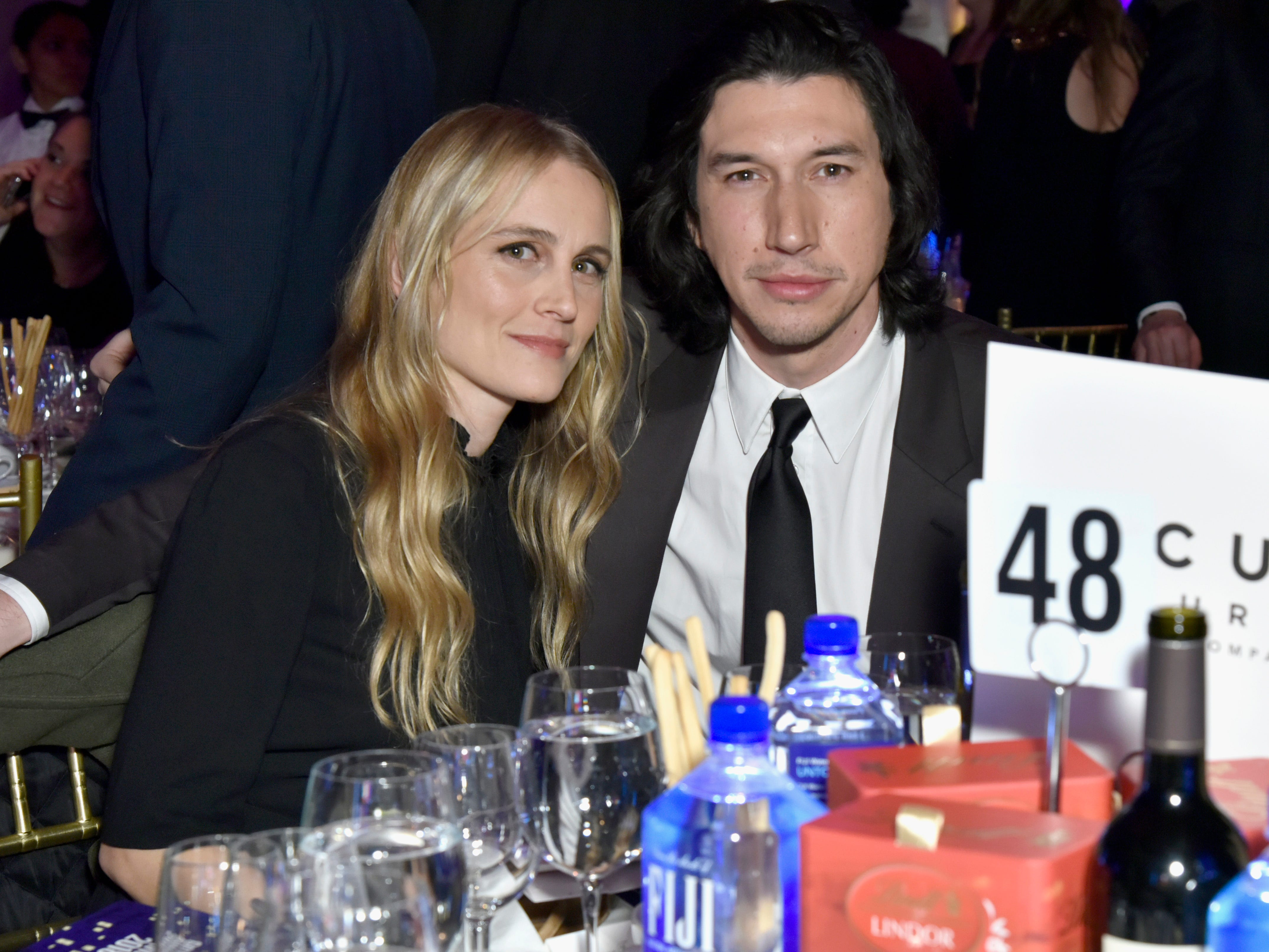 NEW YORK, NY - NOVEMBER 26:  Joanne Tucker (L) and Adam Driver attend the 2018 IFP Gotham Awards with FIJI Water at Cipriani, Wall Street on November 26, 2018 in New York City.  (Photo by Eugene Gologursky/Getty Images for FIJI Water) ORG XMIT: 775261572 ORIG FILE ID: 1065579790