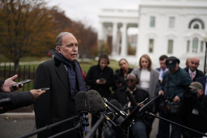 Director of the National Economic Council Larry Kudlow speaks to members of the media after a TV interview with Fox Business Network on the grounds of the White House Nov. 20, 2018, in Washington, D.C.