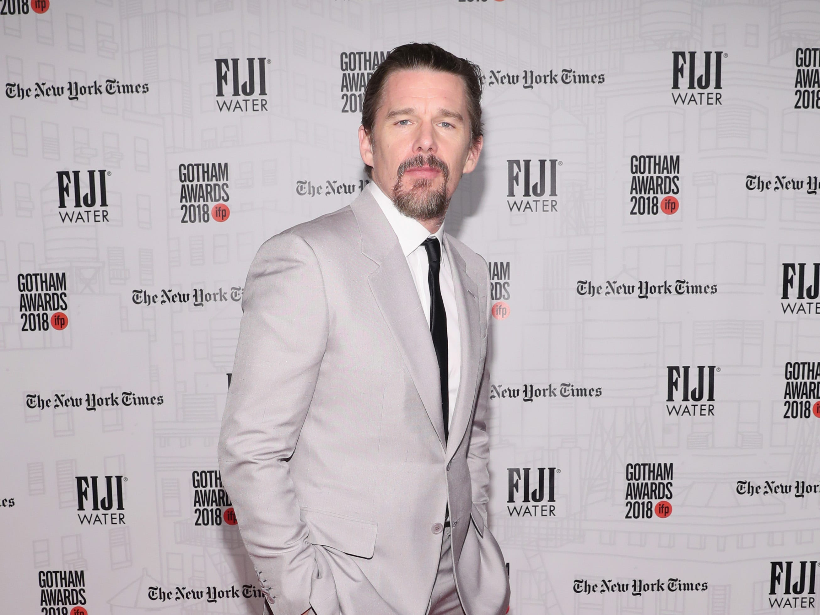 NEW YORK, NY - NOVEMBER 26:  Ethan Hawke attends the 2018 IFP Gotham Awards with FIJI Water at Cipriani, Wall Street on November 26, 2018 in New York City.  (Photo by Cindy Ord/Getty Images for FIJI Water) ORG XMIT: 775261572 ORIG FILE ID: 1065552222