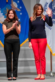 First lady Melania Trump and second lady Karen Pence helped assemble care packages for US troops at The American Red Cross headquarters in Washington, DC, on Nov. 27, 2018.