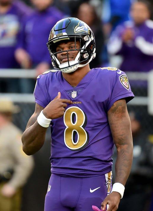 Nfl Oakland Raiders At Baltimore Ravens. Baltimore Ravens quarterback Lamar  Jackson ... 98a8503c4