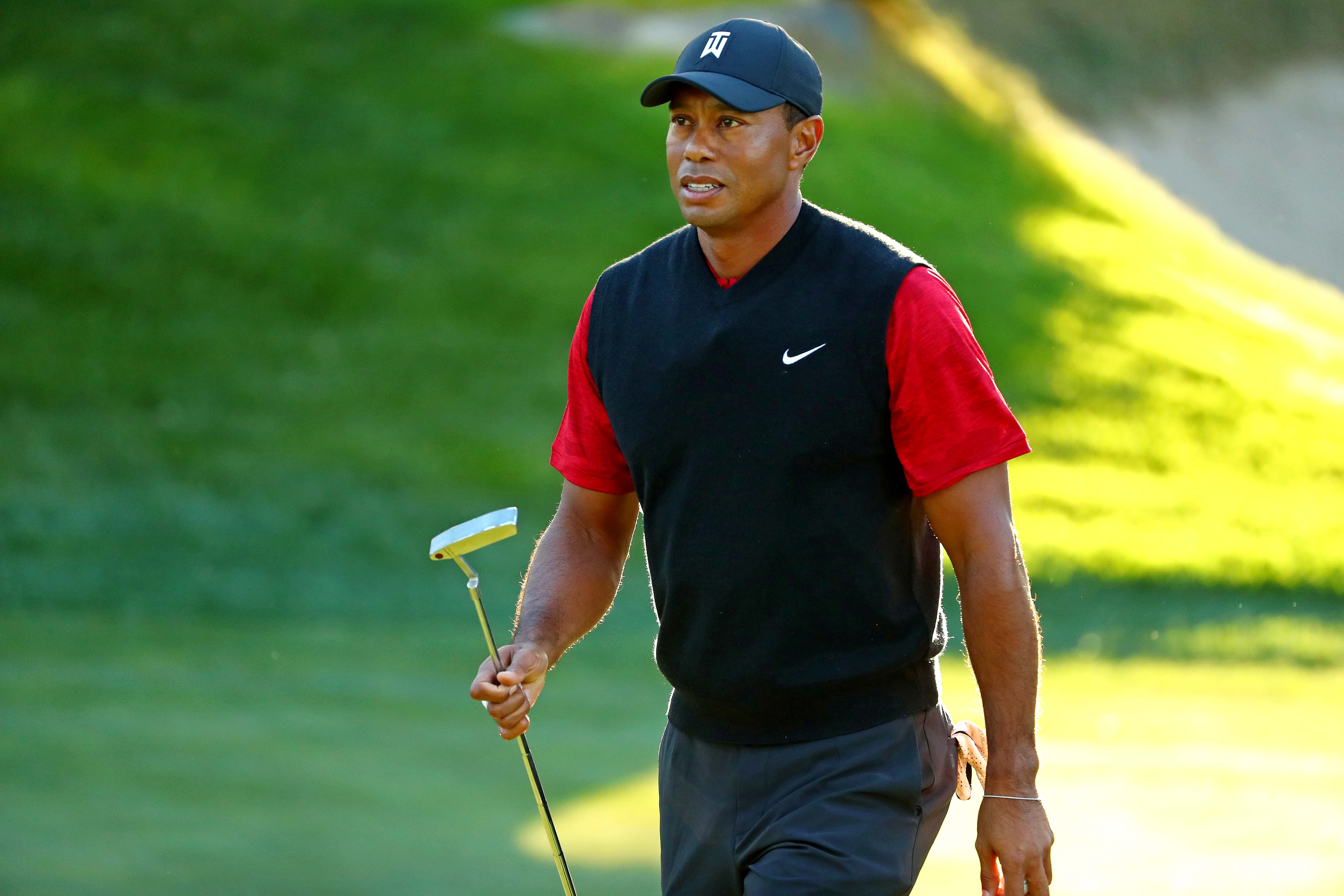 Tiger Woods reacts to his putt on on the 14th green during The Match: Tiger vs Phil at Shadow Creek Golf Course on Nov. 23.