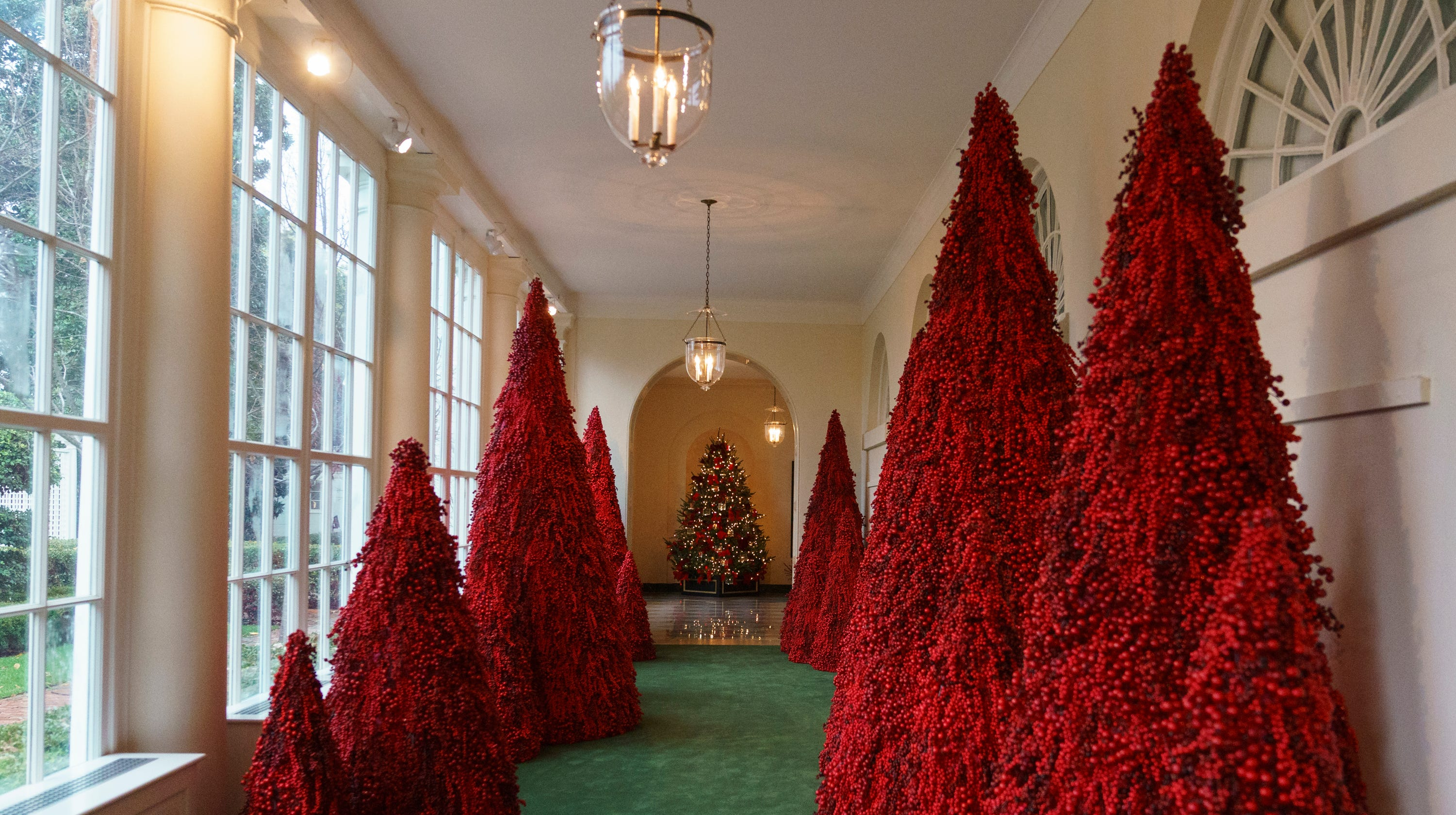trumps red christmas trees have twitter crying handmaids tale