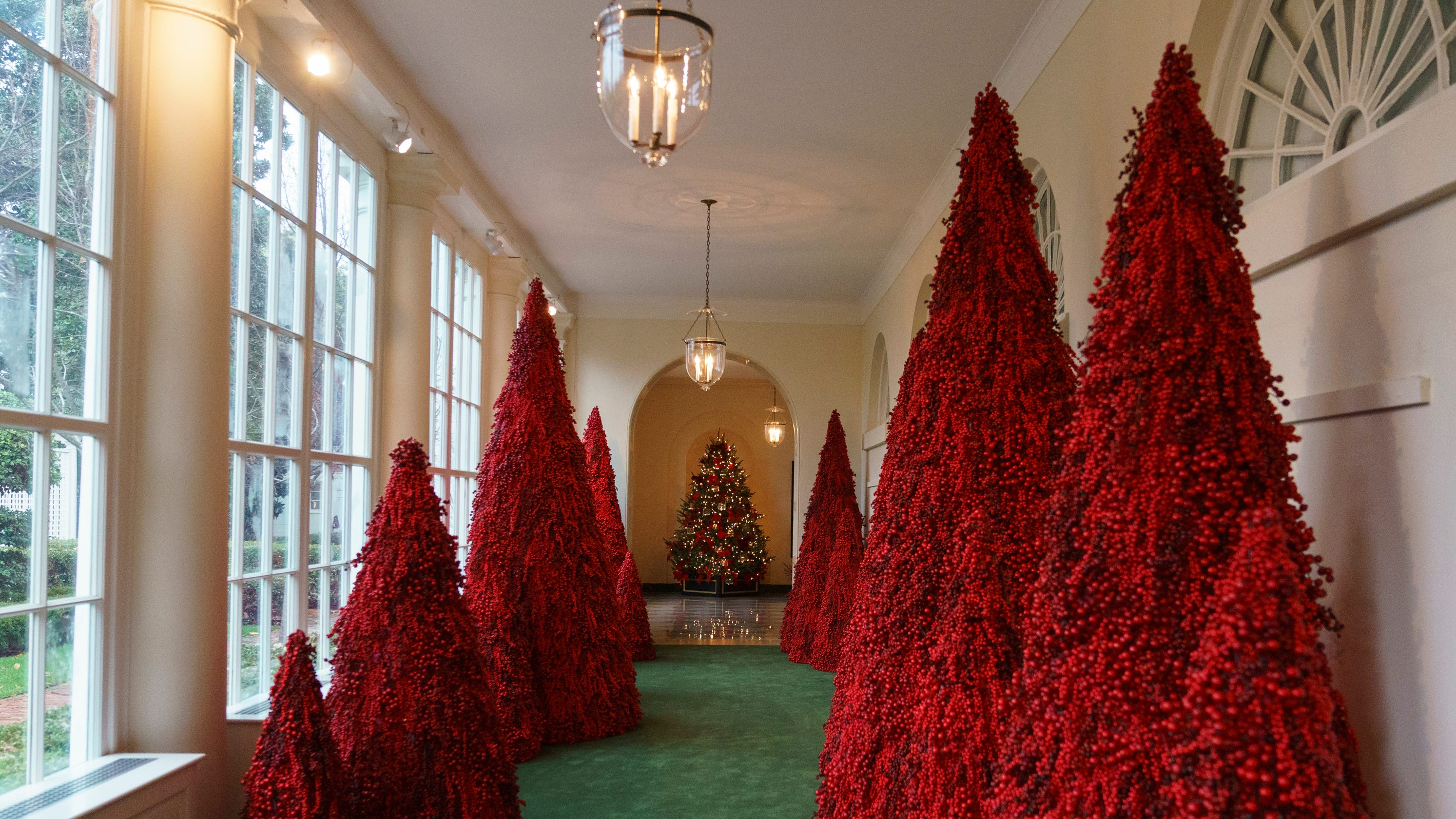 Whitehouse Christmas Decorations.Trump S Red Christmas Trees Have Twitter Crying Handmaid S