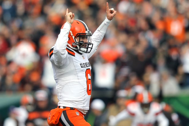 Cleveland Browns quarterback Baker Mayfield (6) reacts to a touchdown against the Cincinnati Bengals in the first half at Paul Brown Stadium.
