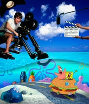 "Stephen Hillenburg directs Patrick and SpongeBob in a scene from the animated motion picture ""The SpongeBob SquarePants Movie."""