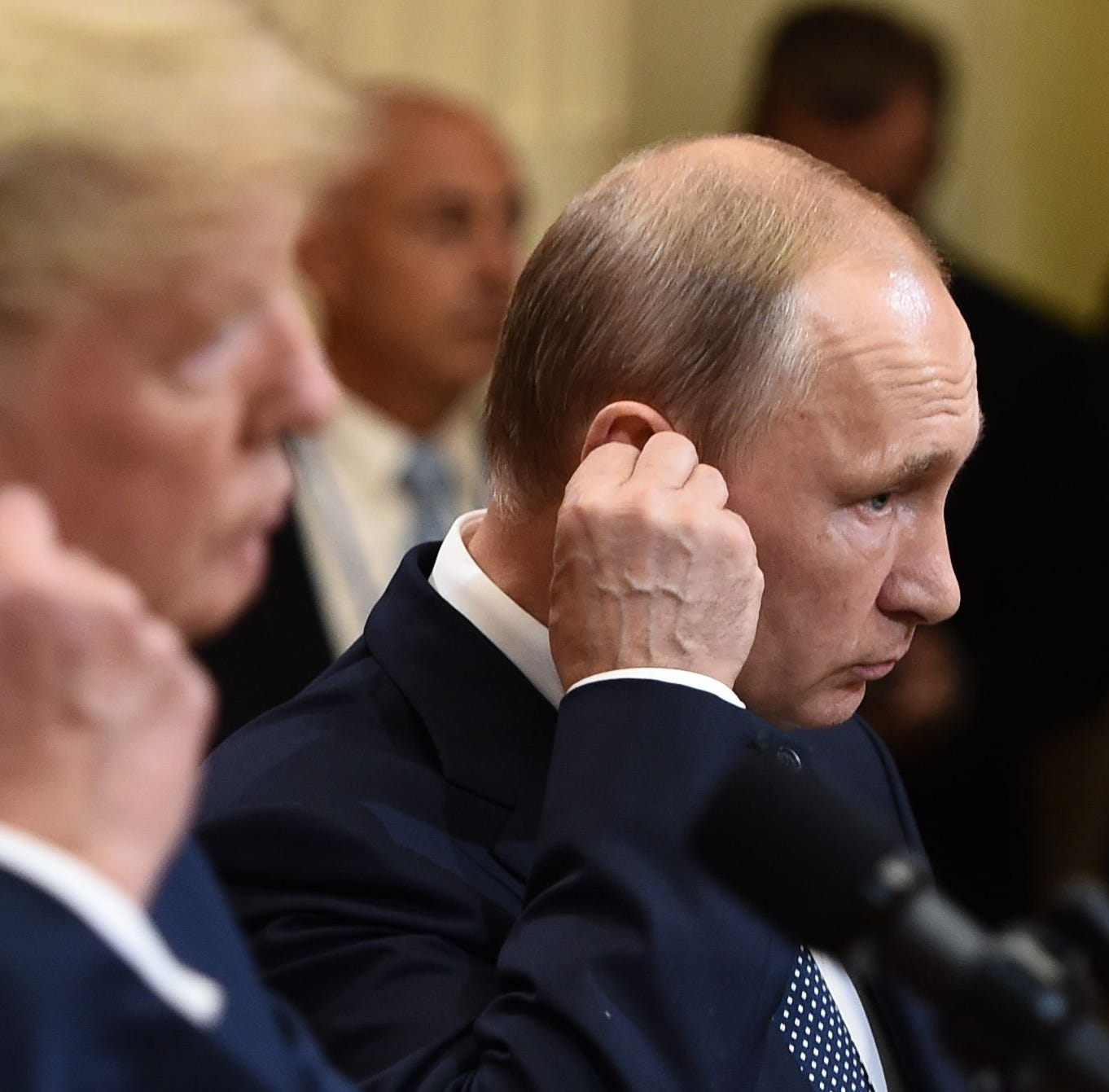 TOPSHOT - US President Donald Trump and Russia's President Vladimir Putin attend a joint press conference after a meeting at the Presidential Palace in Helsinki, on July 16, 2018. / AFP PHOTO / Brendan SMIALOWSKIBRENDAN SMIALOWSKI/AFP/Getty Images ORIG FILE ID: AFP_17Q3I0