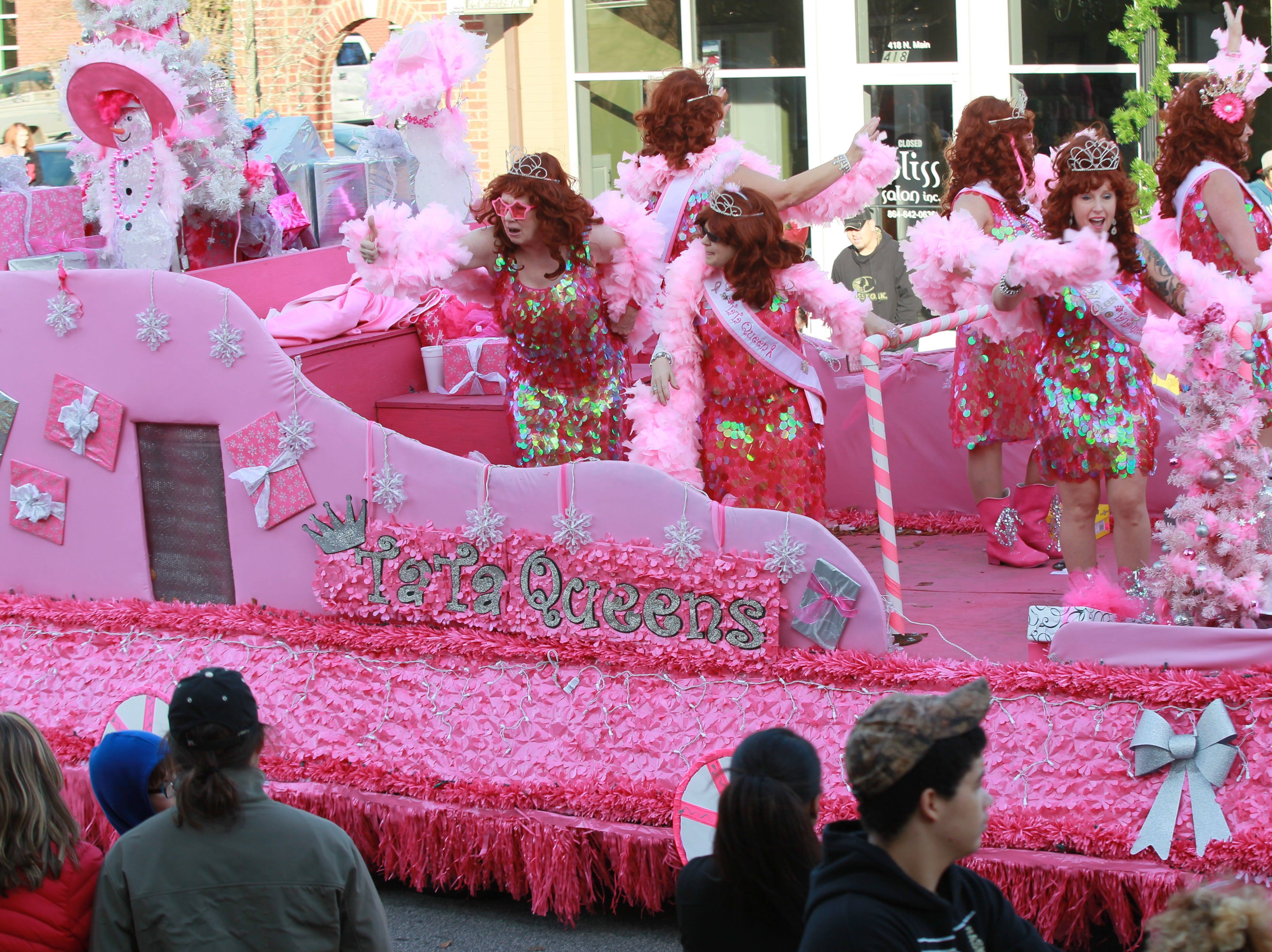TaTa Queens in the Anderson Christmas Parade in 2014