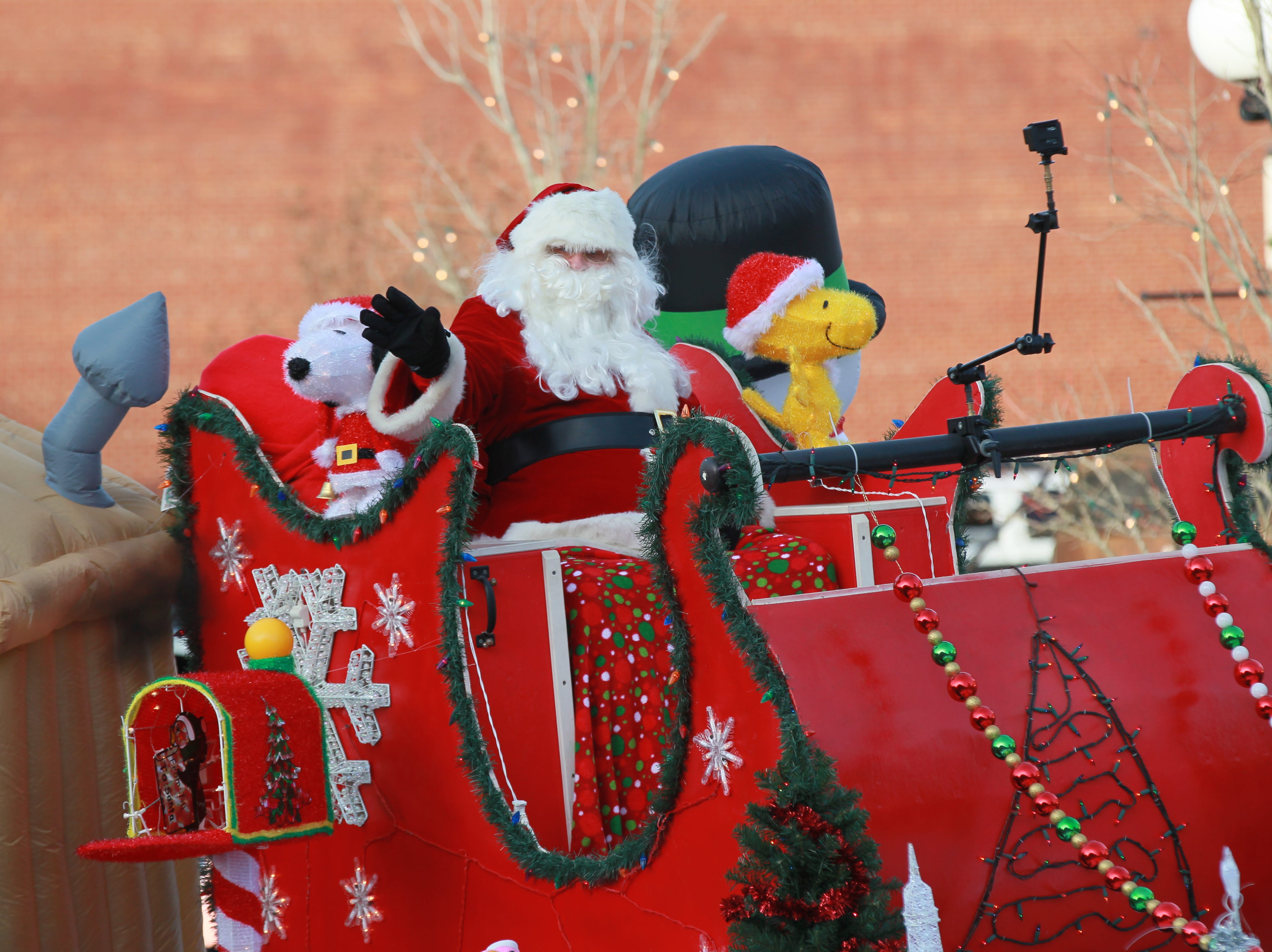 Santa Claus on the City of Anderson recreation float in the Anderson Christmas Parade in 2014