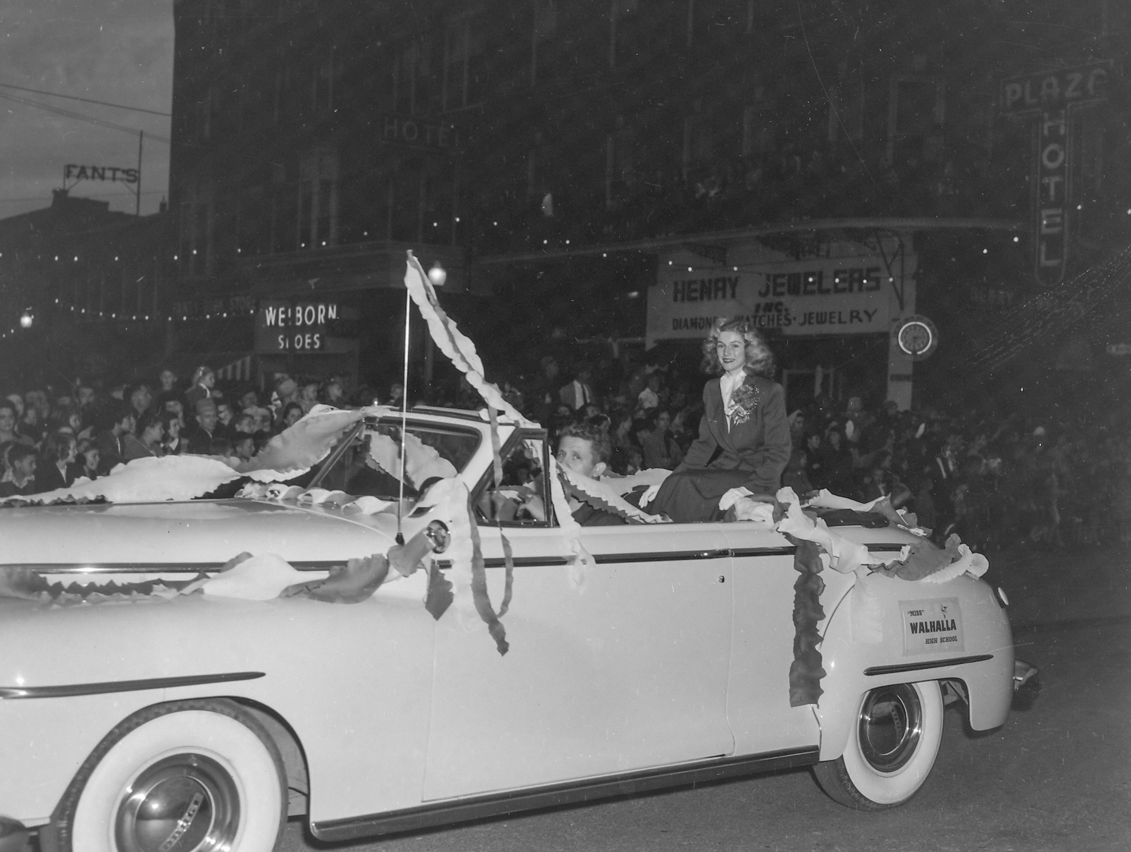 Miss Walhalla High School, one of the beauty queens at the Anderson Christmas Parade on December 1949 in downtown Anderson.