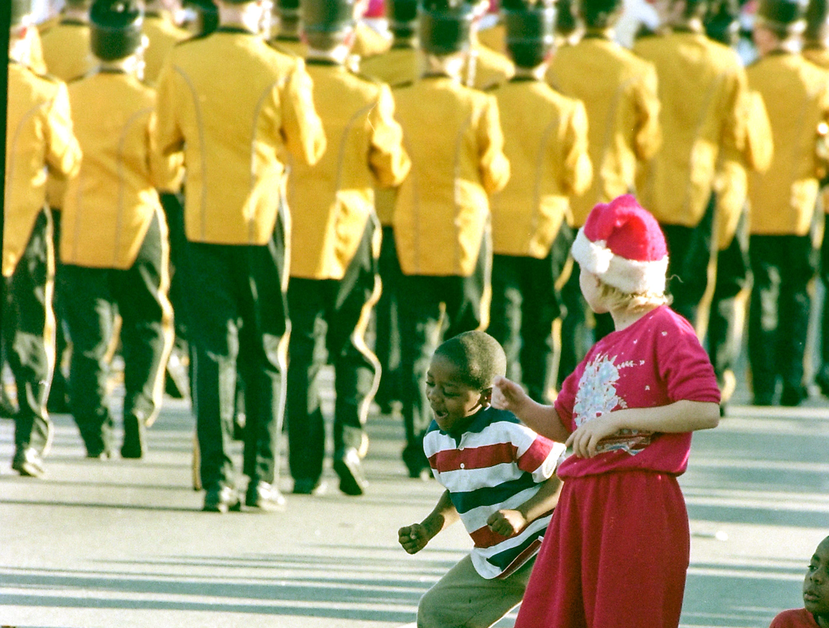 The T.L. Hanna High School Marching Band in the Anderson Christmas Parade on December 6, 1998 in downtown Anderson.