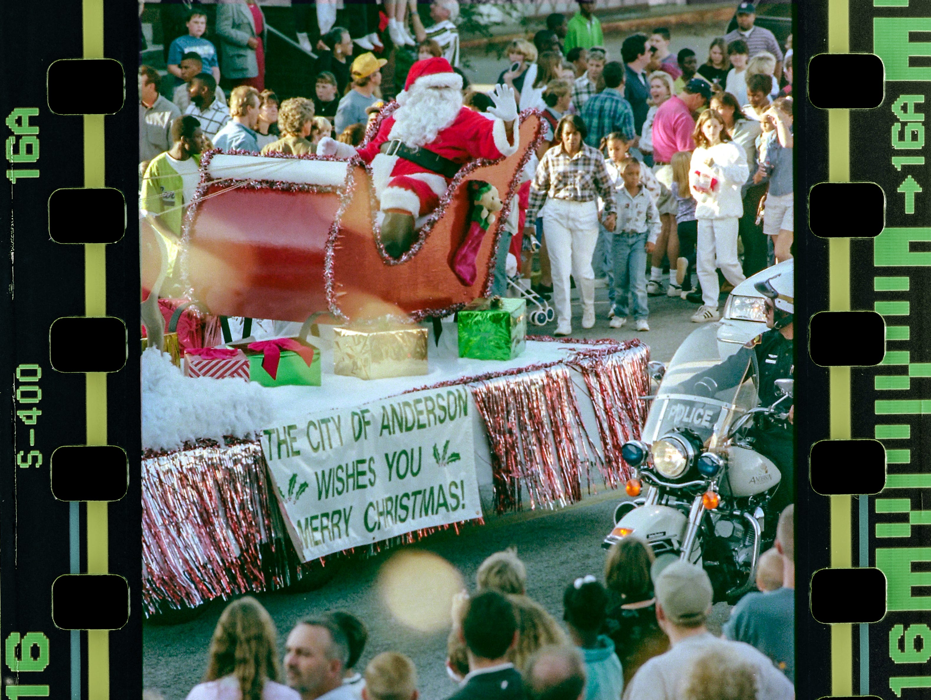 Santa Claus during the Anderson Christmas Parade on December 6, 1998 in downtown Anderson.