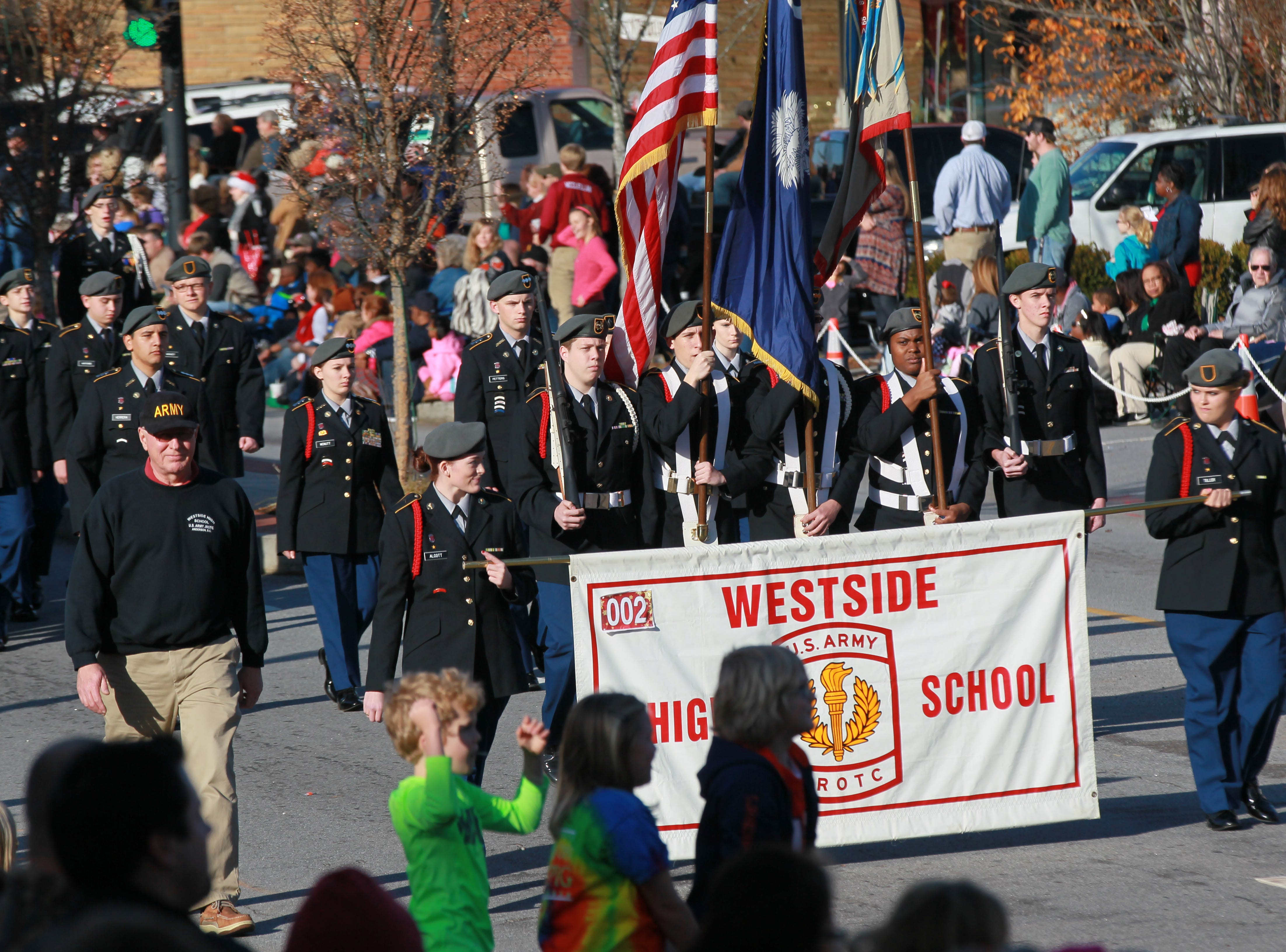 Westside High School Army JROTC in the Anderson Christmas Parade in 2002.