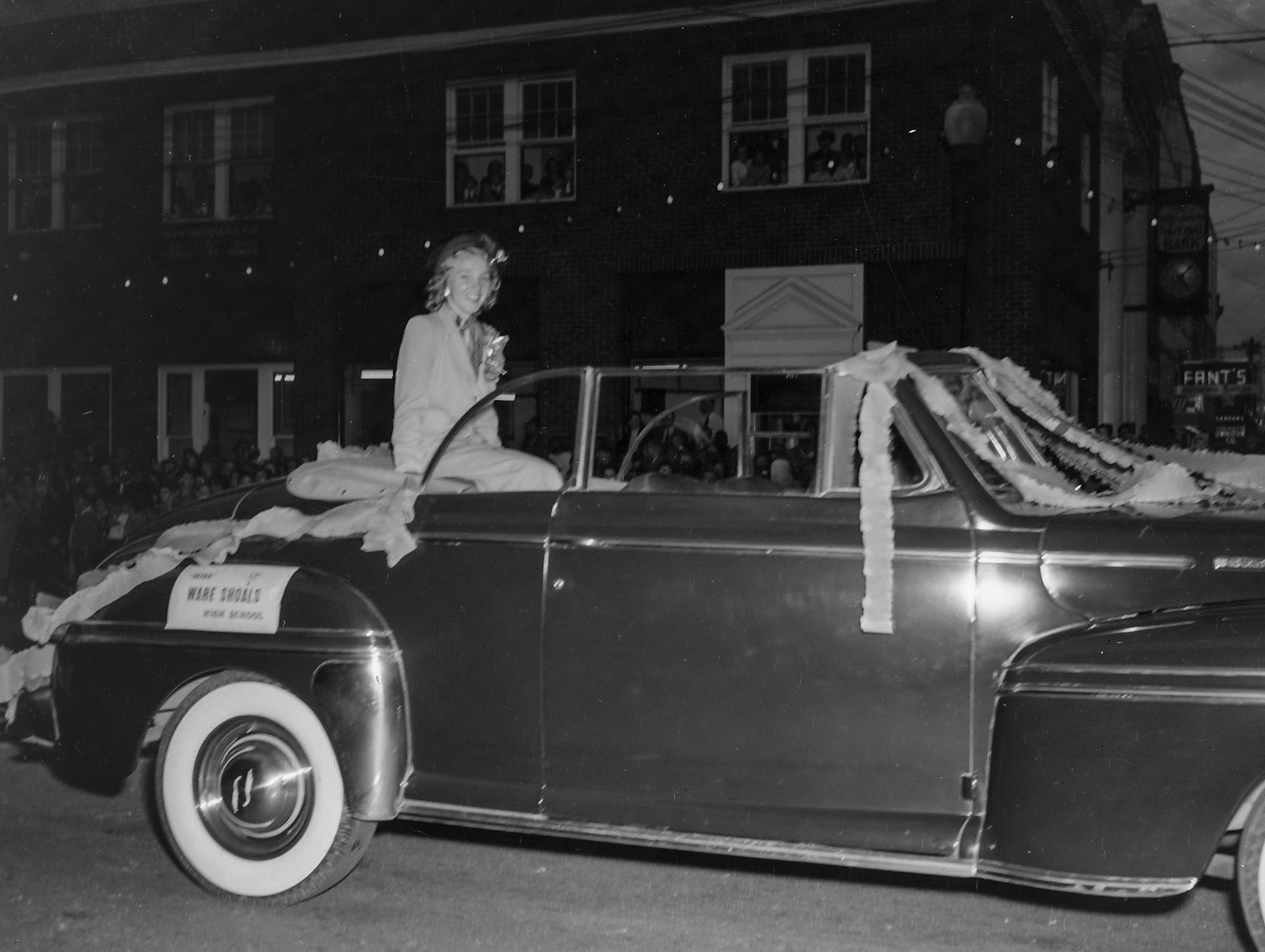 Miss Ware Shoals High School, one of the beauty queens at the Anderson Christmas Parade on December 1949 in downtown Anderson.