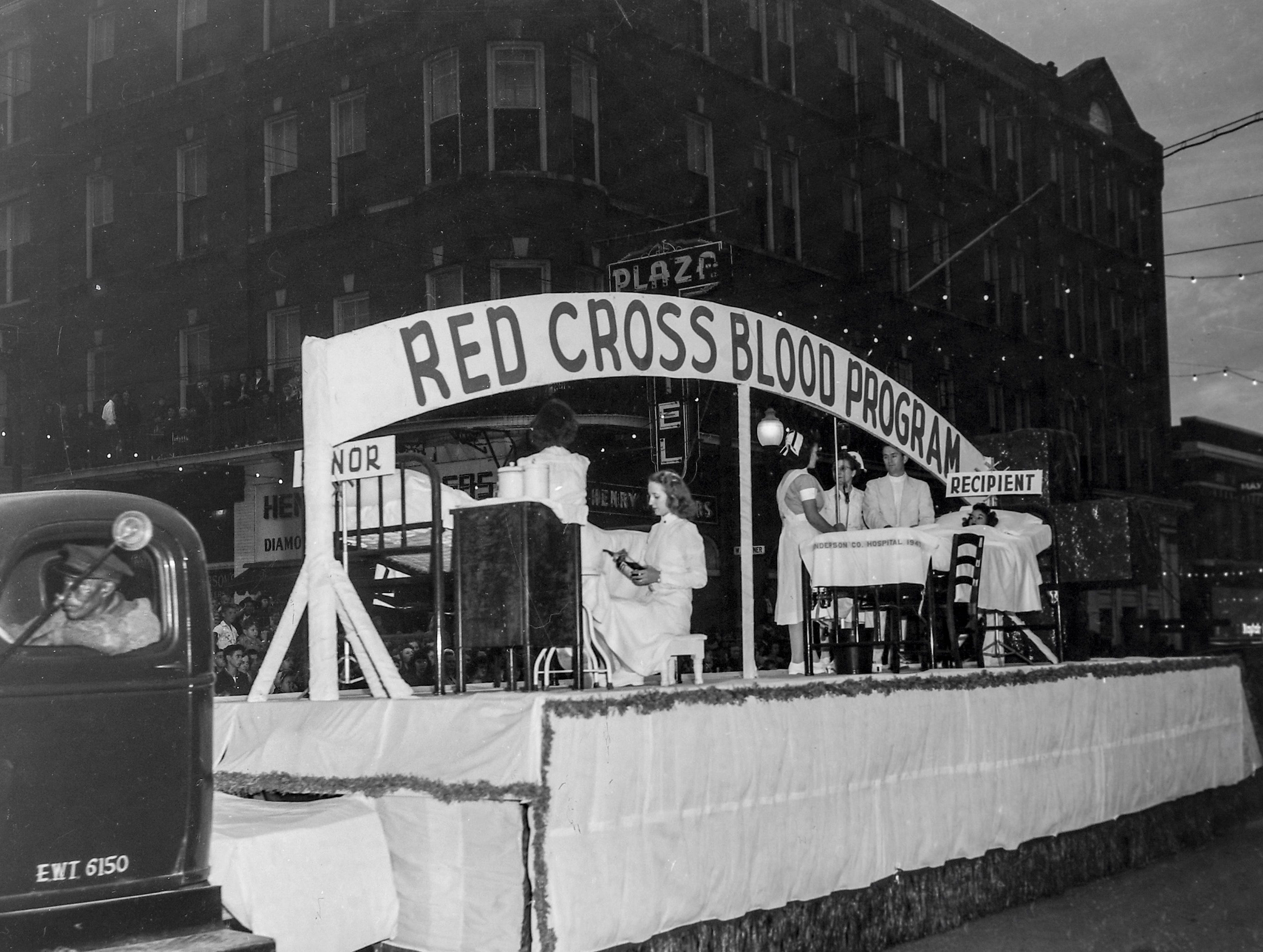 The Red Cross Blood Program float at the Anderson Christmas Parade on December 1949 in downtown Anderson.