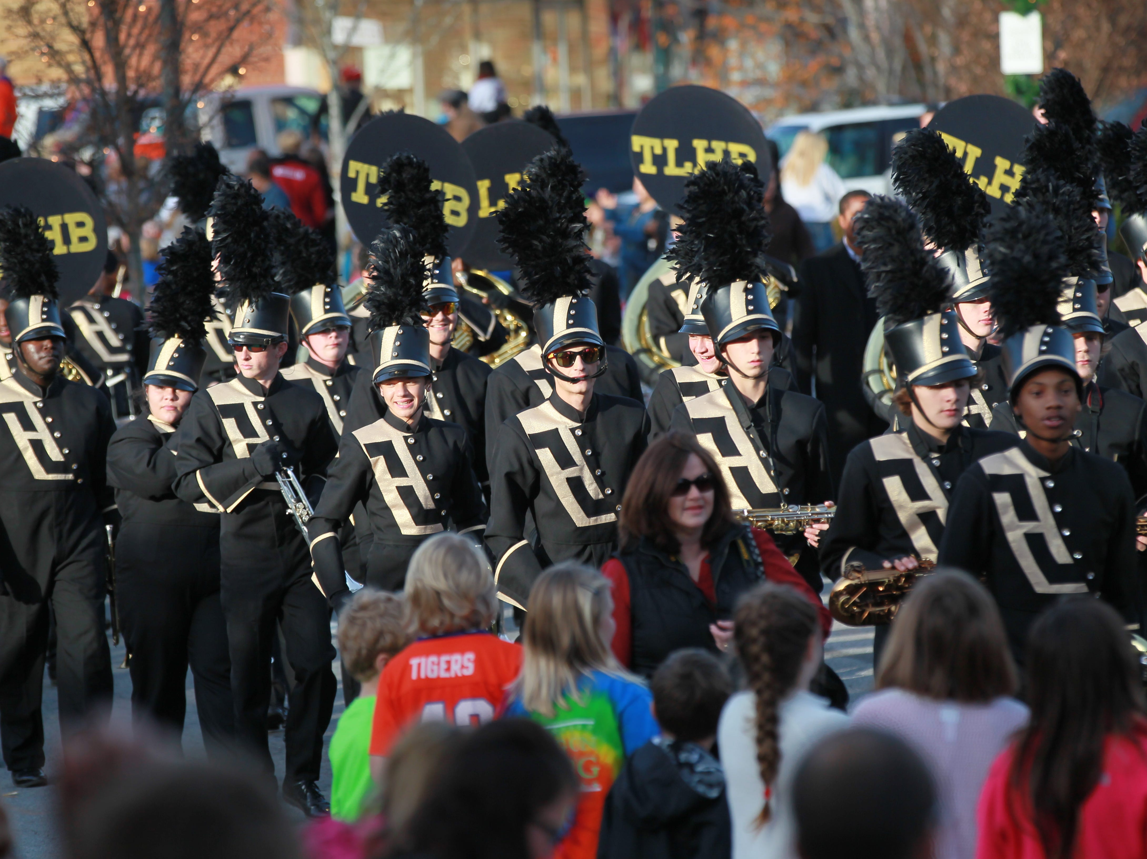 T.L. Hanna High School Marching Band in the Anderson Christmas Parade in 2014