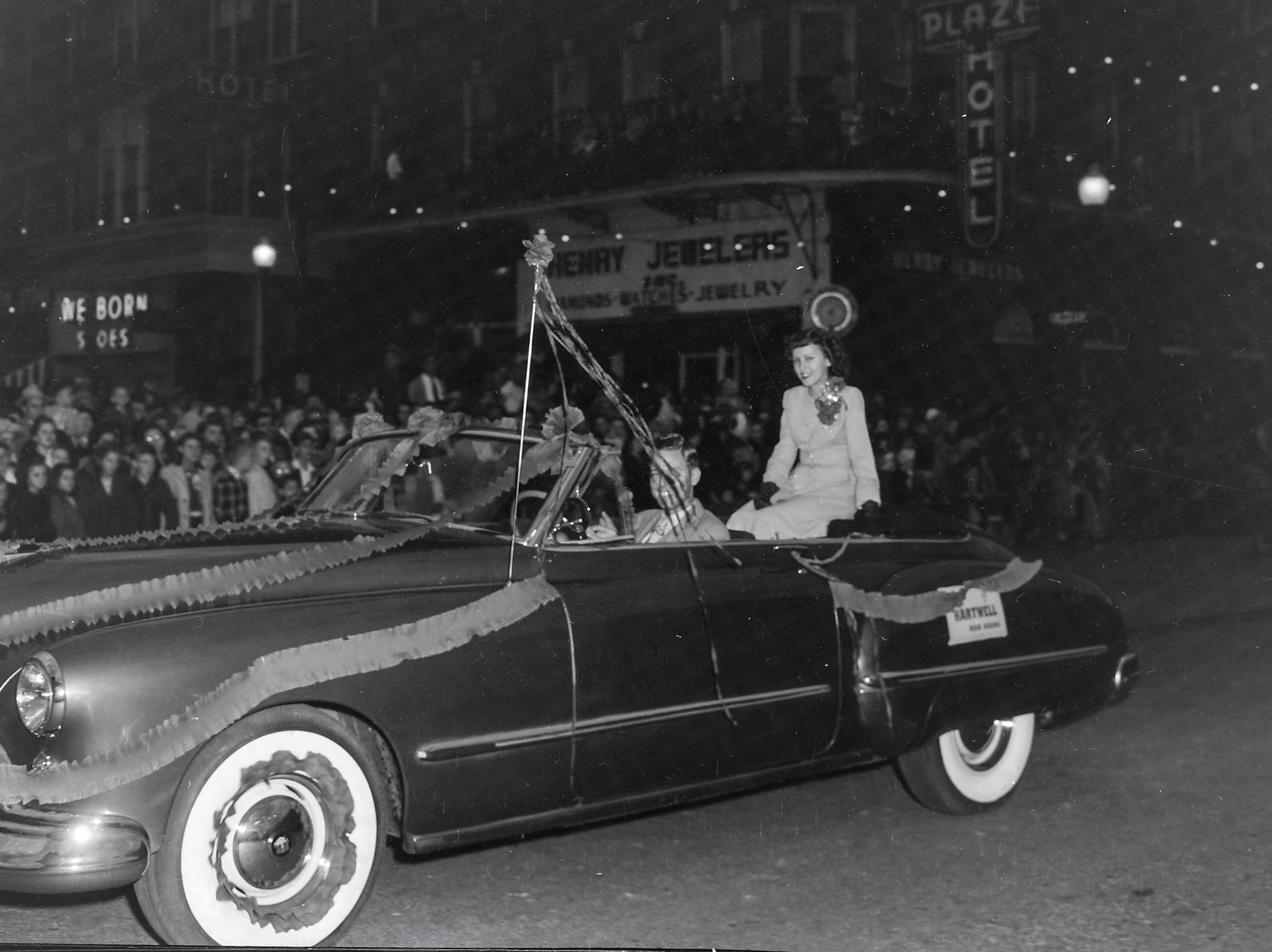Miss Hartwell High School, one of the beauty queens at the Anderson Christmas Parade on December 1949 in downtown Anderson.