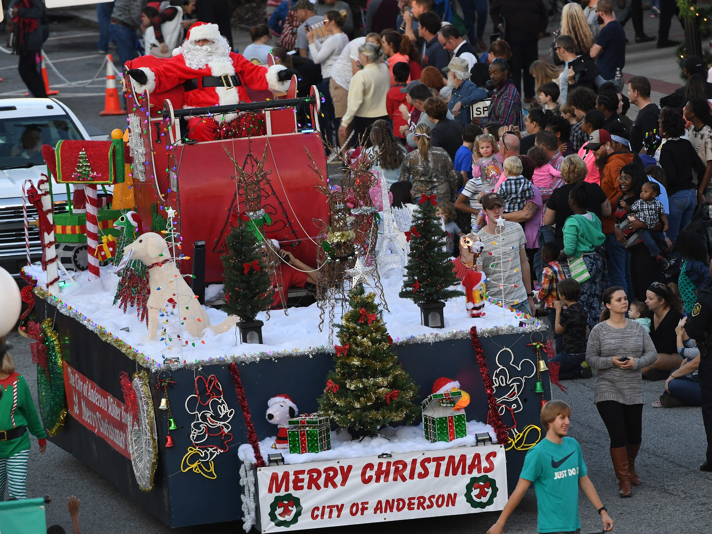 Santa Claus at  The City of Anderson Christmas Parade on Main Street in Anderson on Sunday, December 3, 2017.