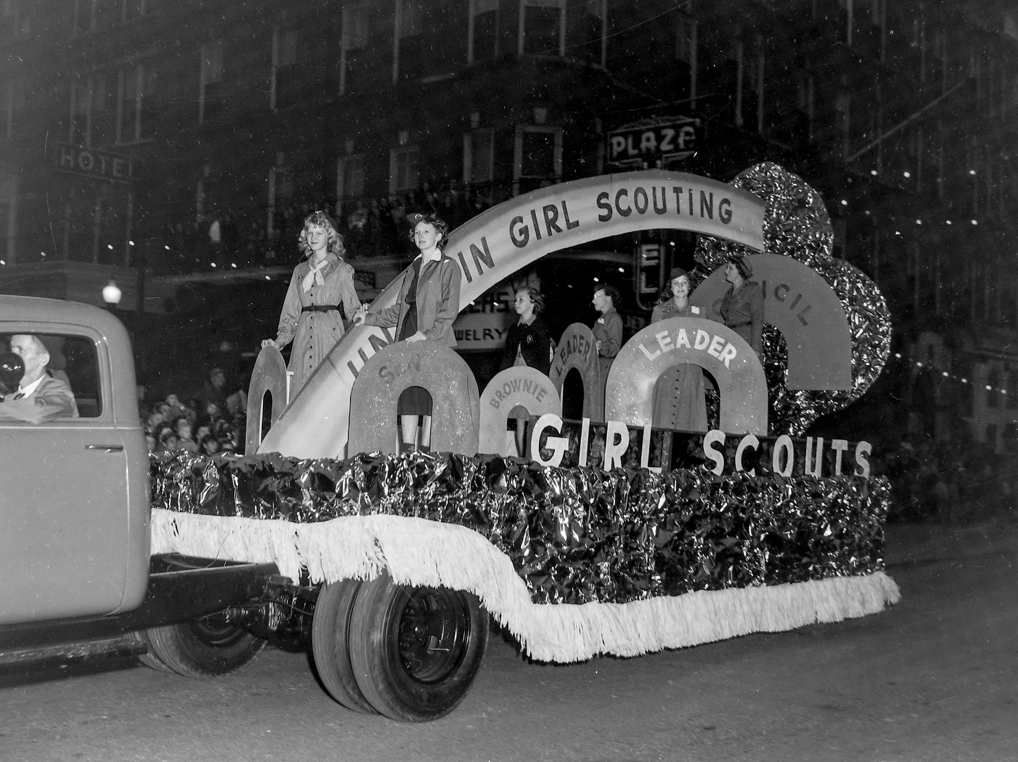 The Girl Scouts of America of Anderson float, during the Anderson Christmas Parade on December 1949 in downtown Anderson.