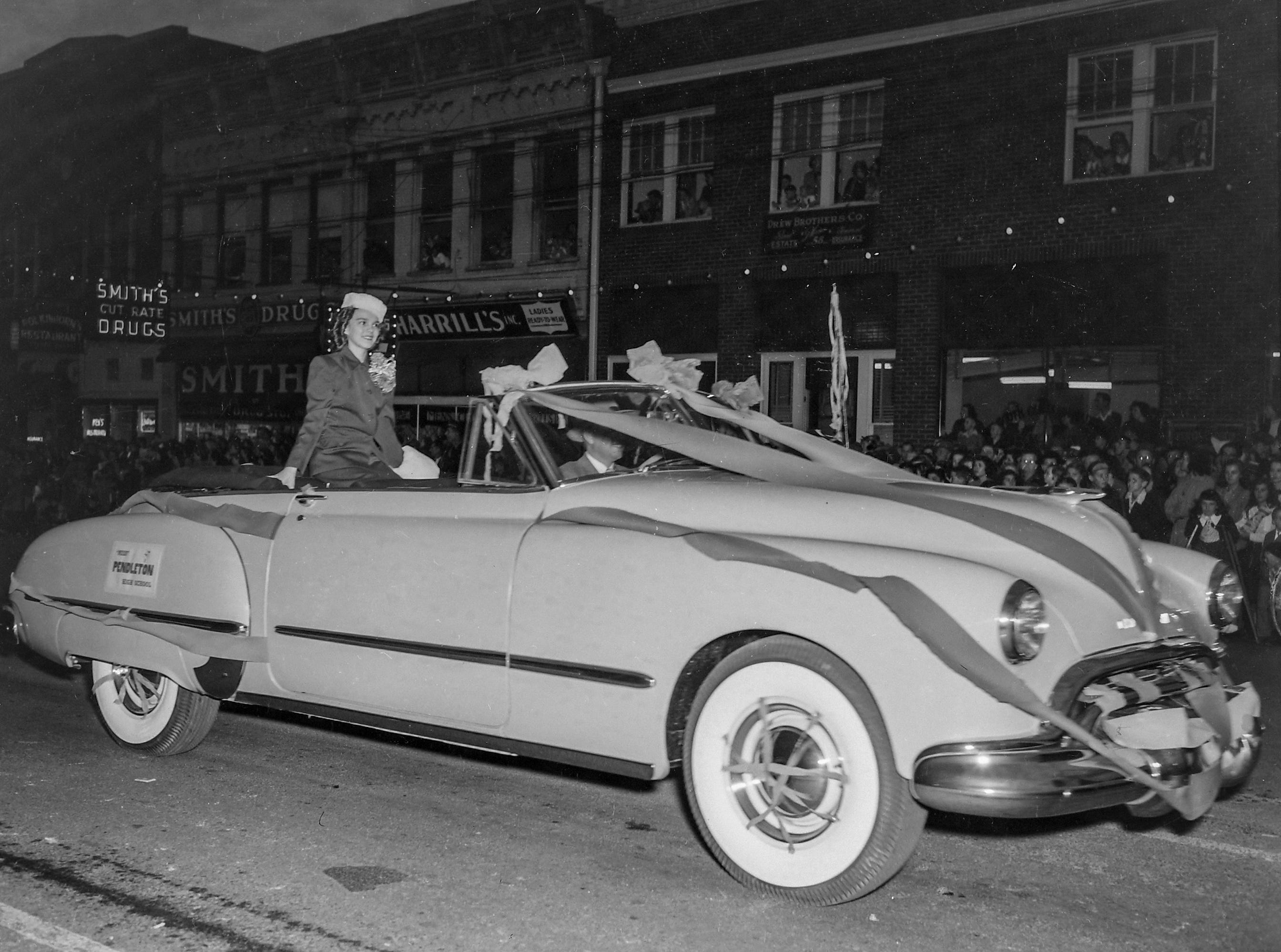 Miss Pendleton High School, one of the beauty queens at the Anderson Christmas Parade on December 1949 in downtown Anderson.
