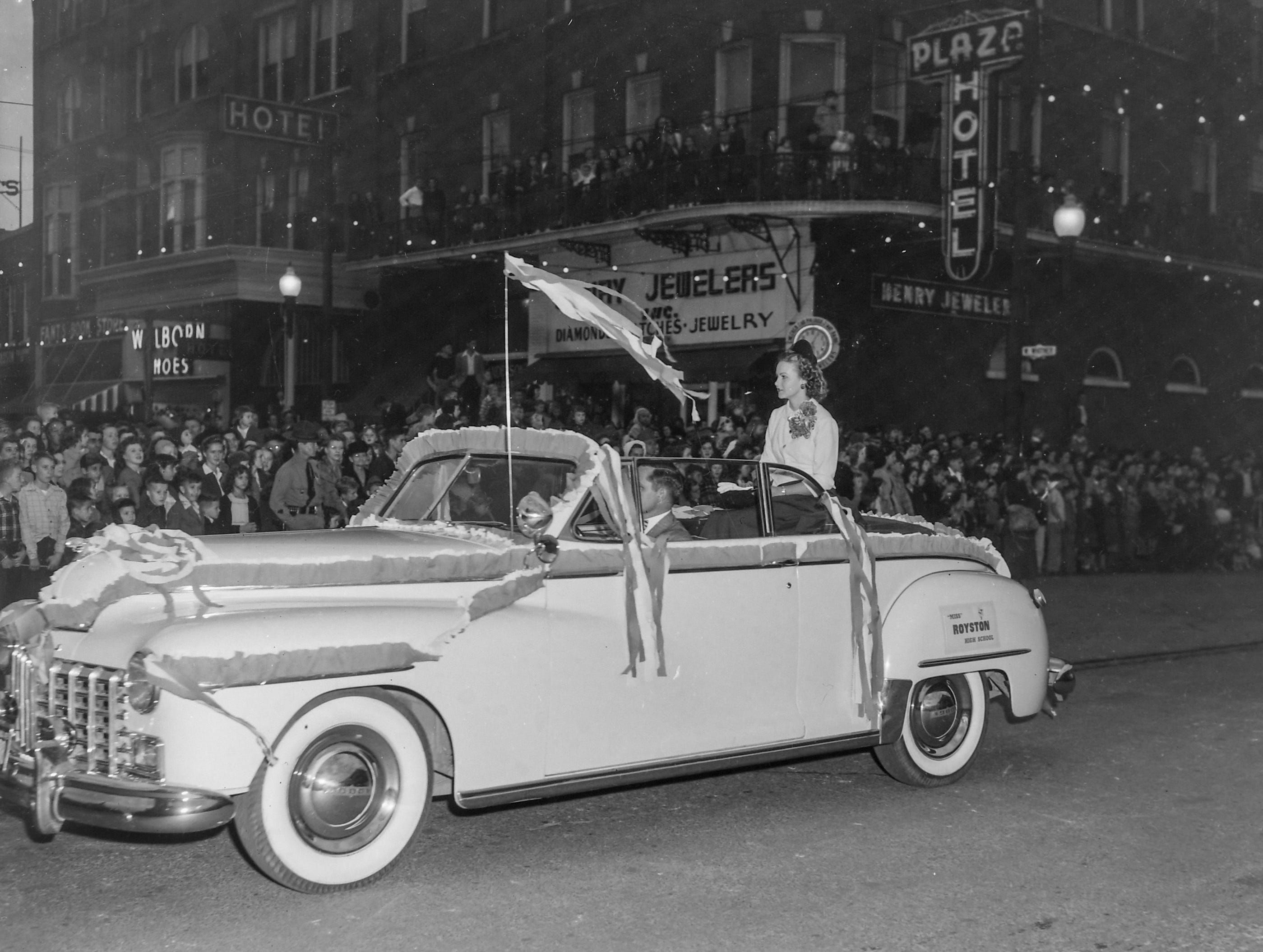 Miss Royston High School, Ga., one of the beauty queens at the Anderson Christmas Parade on December 1949 in downtown Anderson.