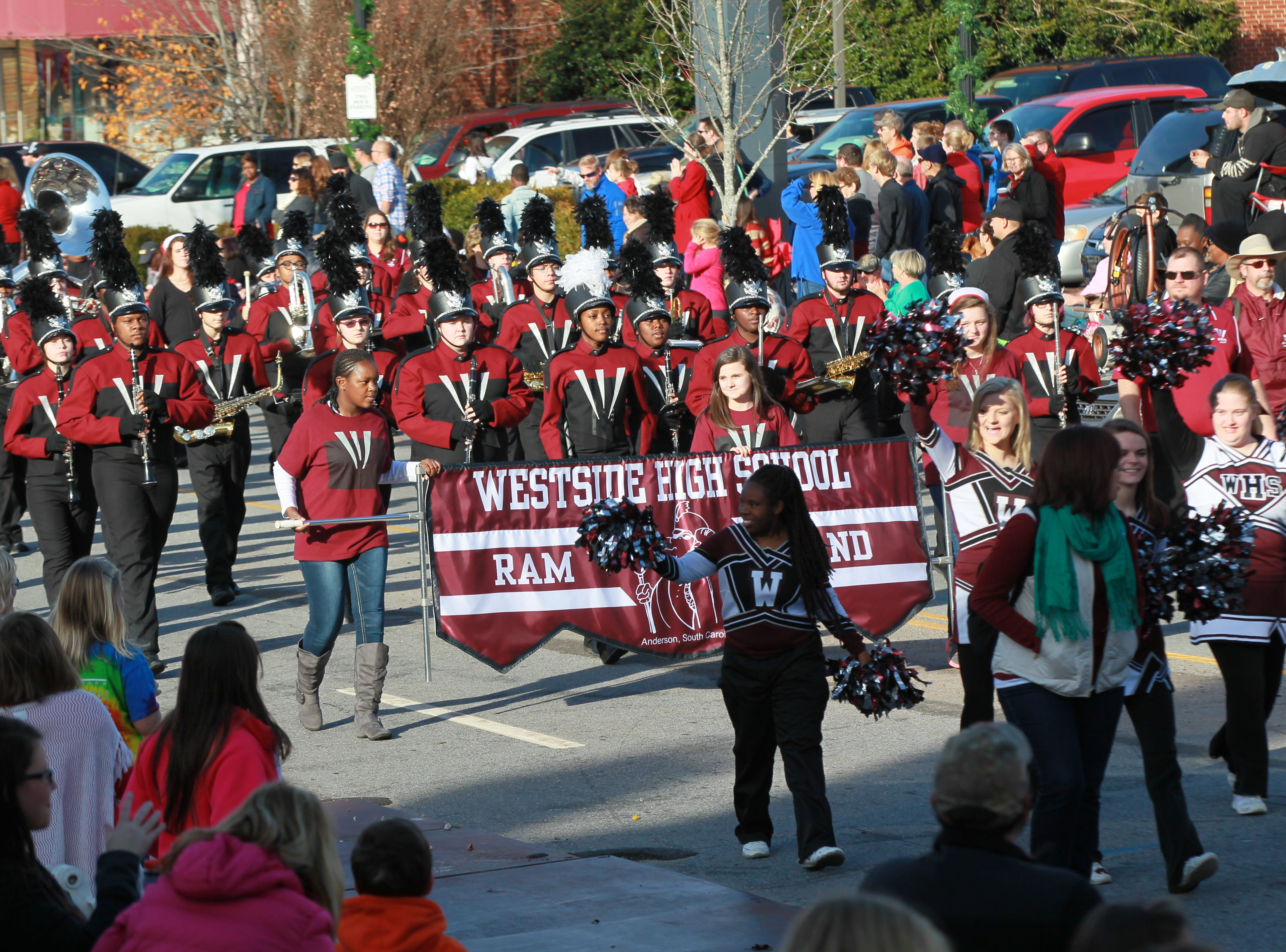 Westside High School Ram Band in the Anderson Christmas Parade in 2014