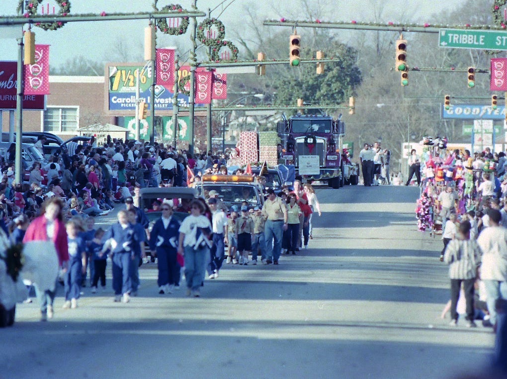 Anderson Christmas Parade on December 6, 1998 in downtown Anderson.