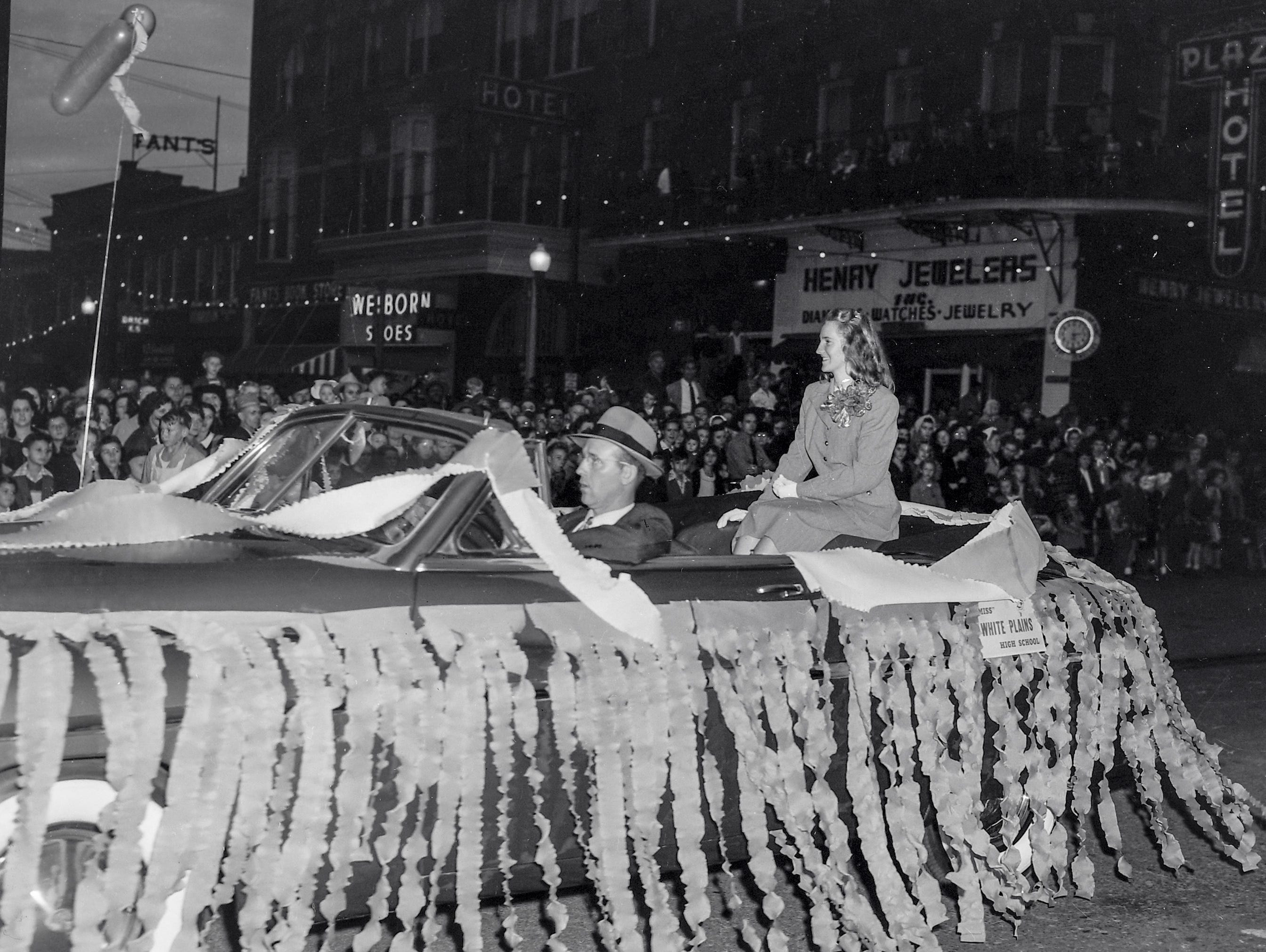 Miss White Plains High School, one of the beauty queens at the Anderson Christmas Parade on December 1949 in downtown Anderson.