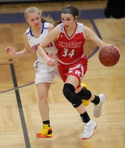 Maddy Schreiber (34) is one of the top players in Wisconsin and is a key member of the Kimberly girls basketball team.