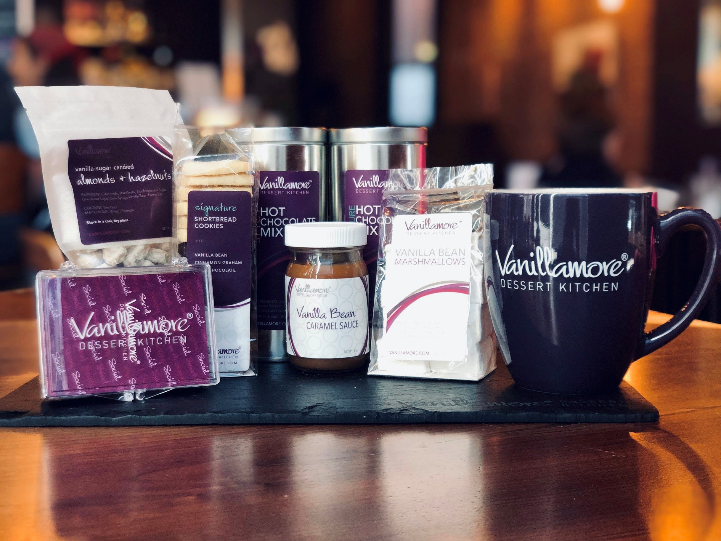 If someone on your list has a sweet tooth, gift them cookies, marshmallows and hot chocolate mix from Vanillamore, a dessert lounge and restaurant in Montclair.