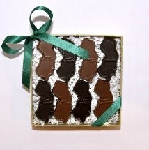 Enjou Chocolat in Morristown crafts milk and dark chocolate in the shape of the Garden State.