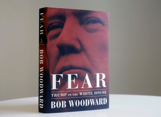 """A copy of Bob Woodward's """"Fear"""" is photographed Wednesday, Sept. 5, 2018, in New York."""